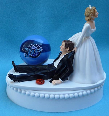 Utah Jazz wedding cake topper NBA basketball sports fans bride dragging groom funny humorous Fun Wedding Things reception