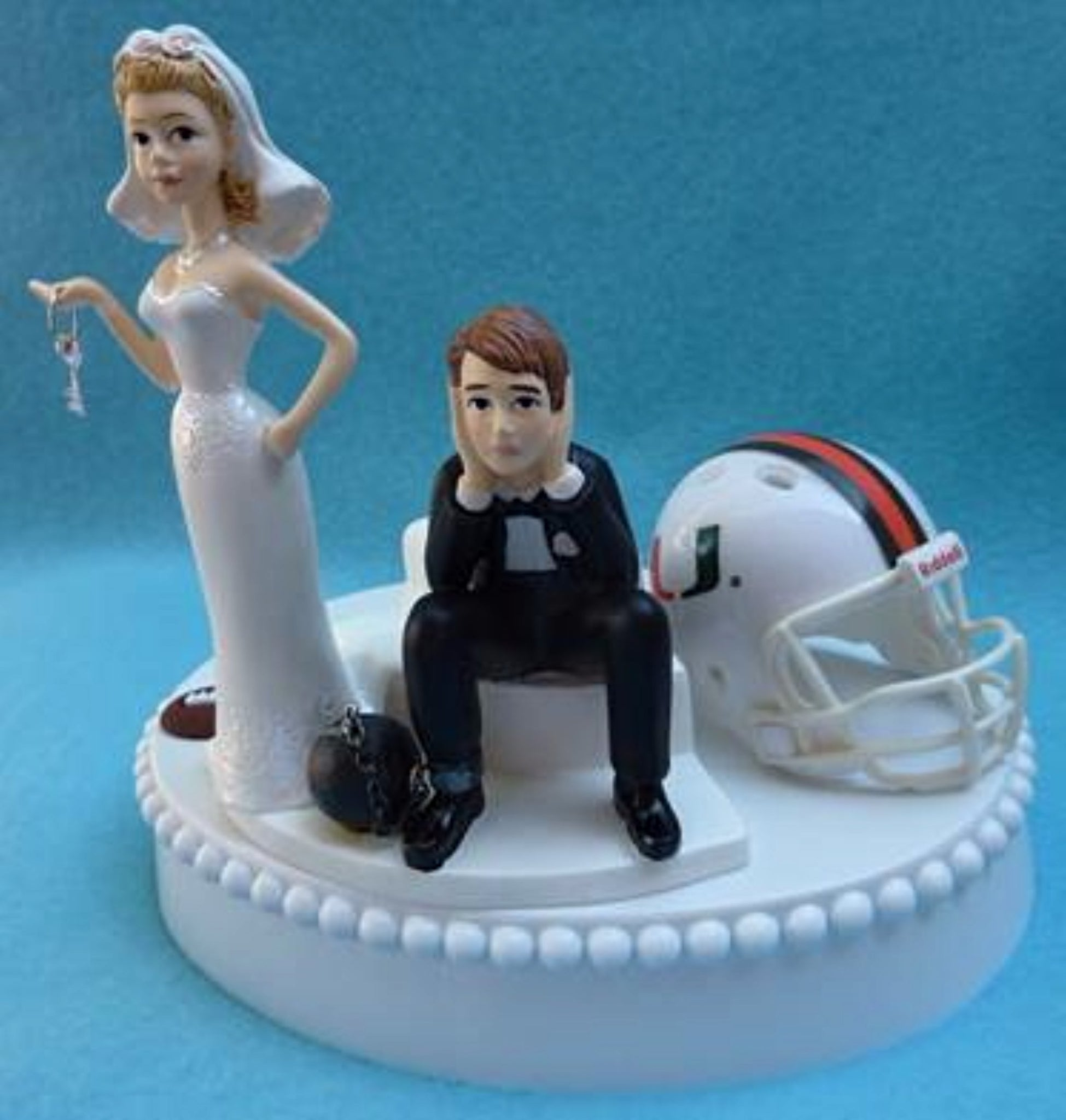 University of Miami wedding cake topper Hurricanes Canes UM funny bride sad groom humorous Fun Wedding Things