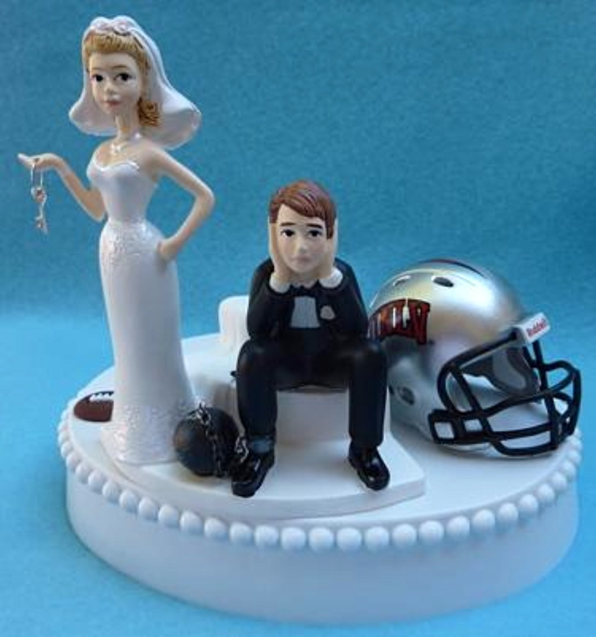 Nevada Las Vegas Rebels wedding cake topper University of UNLV football funny bride sad groom key ball chain humorous Fun Wedding Things