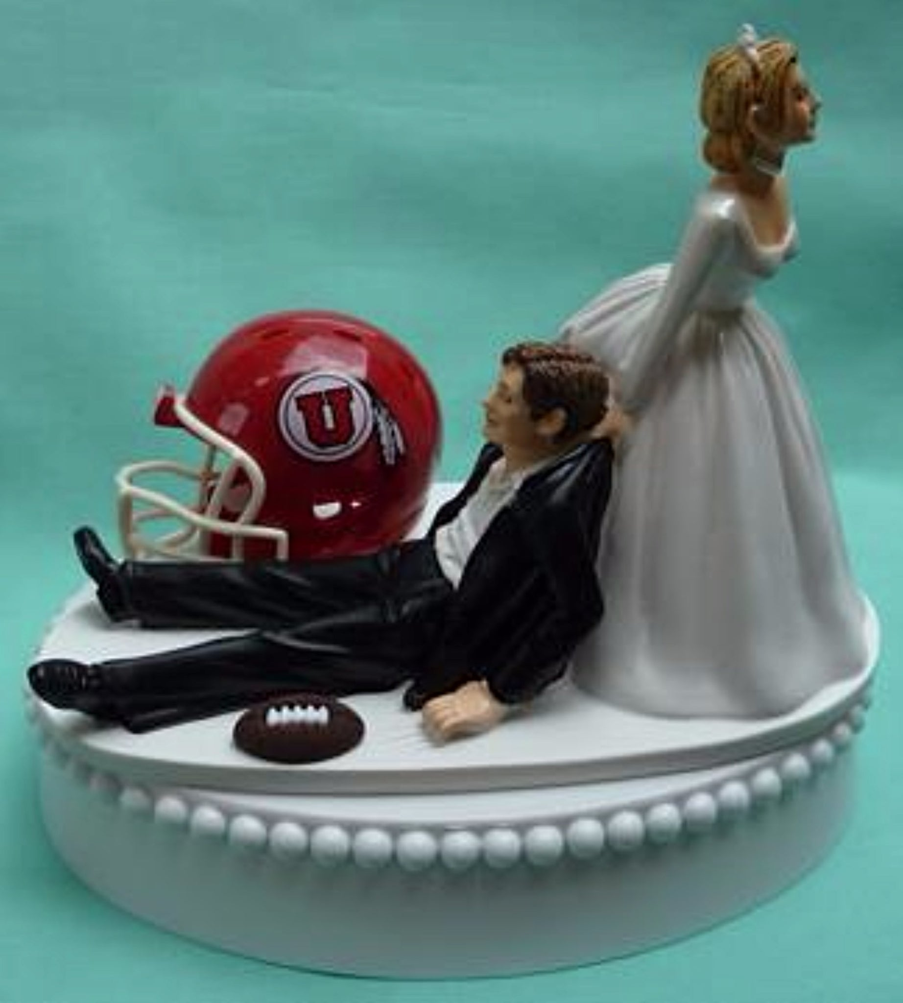 University of Utah wedding cake topper Utes football groom's cake top humorous bride drags groom funny reception gift Fun Wedding Things