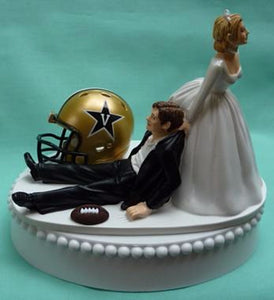 Vanderbilt University wedding cake topper Vandy Commodores football Dores groom's cake top funny bride dragging groom humorous reception gift Nashville Fun Wedding Things