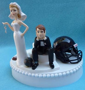 Virginia Cavaliers wedding cake topper University of UVA football Cavs funny bride sad groom humorous ball chain key Fun Wedding Things
