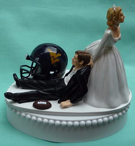 West Virginia University wedding cake topper WVU Mountaineers football fans funny sports bride dragging groom humorous Fun Wedding Things reception ball helmet