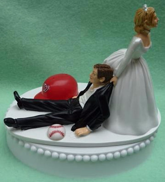Washington Nationals wedding cake topper Nats baseball MLB sports fans fun humorous funny bride drags groom