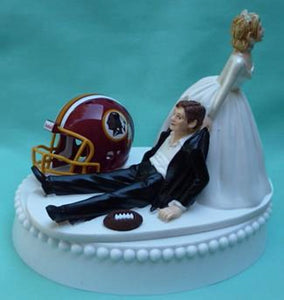 Washington Redskins wedding cake topper DC NFL football sports fans fun humorous bride drags groom