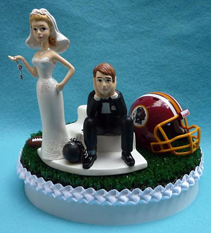 Washington Redskins wedding cake topper football fans bride dejected groom ball and chain key humorous funny reception sports