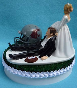 Washington St. University Cougars wedding cake topper WSU football State funny humorous bride dragging groom reception sports fans Fun Wedding Things