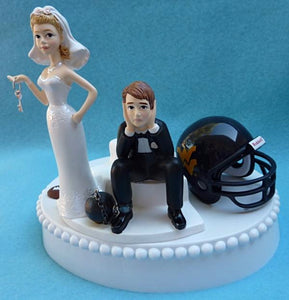 West Virginia football wedding cake topper University Mountaineers WVU humorous groom's cake top sports fans funny bride key ball chain dejected groom helmet unique reception gift bridal shower Fun Wedding Things