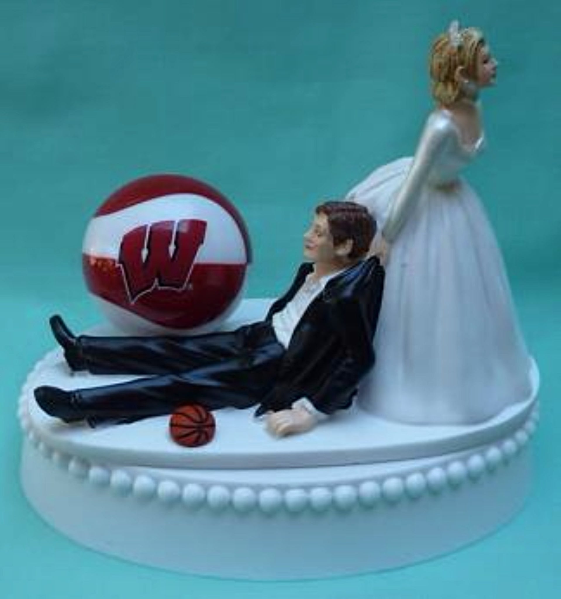 Wisconsin Badgers basketball wedding cake topper University of UW funny bride groom humorous sports Fun Wedding Things