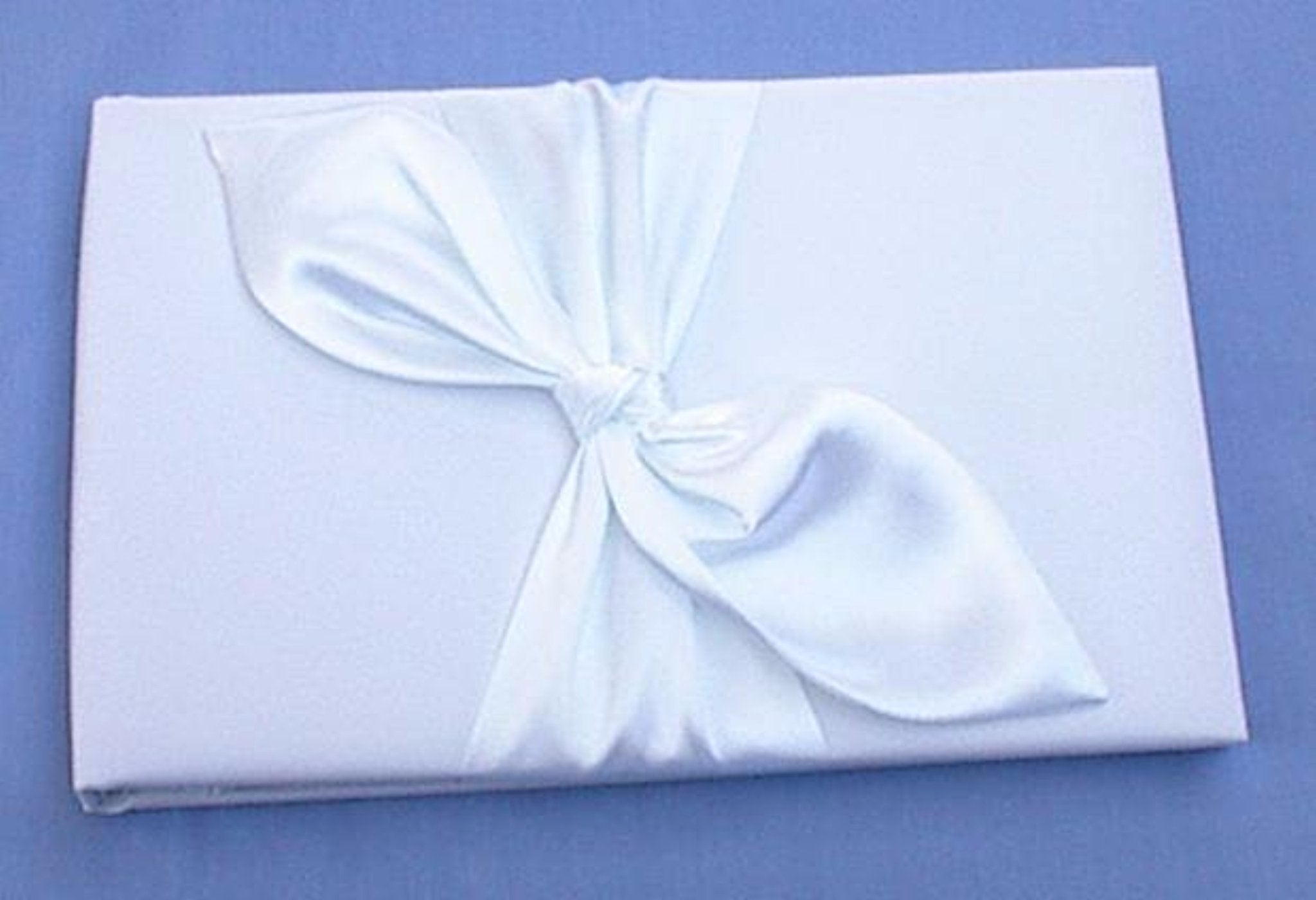 Wedding guest book FunWeddingThings.com white satin ivory custom pretty set love knot Fun Wedding Things