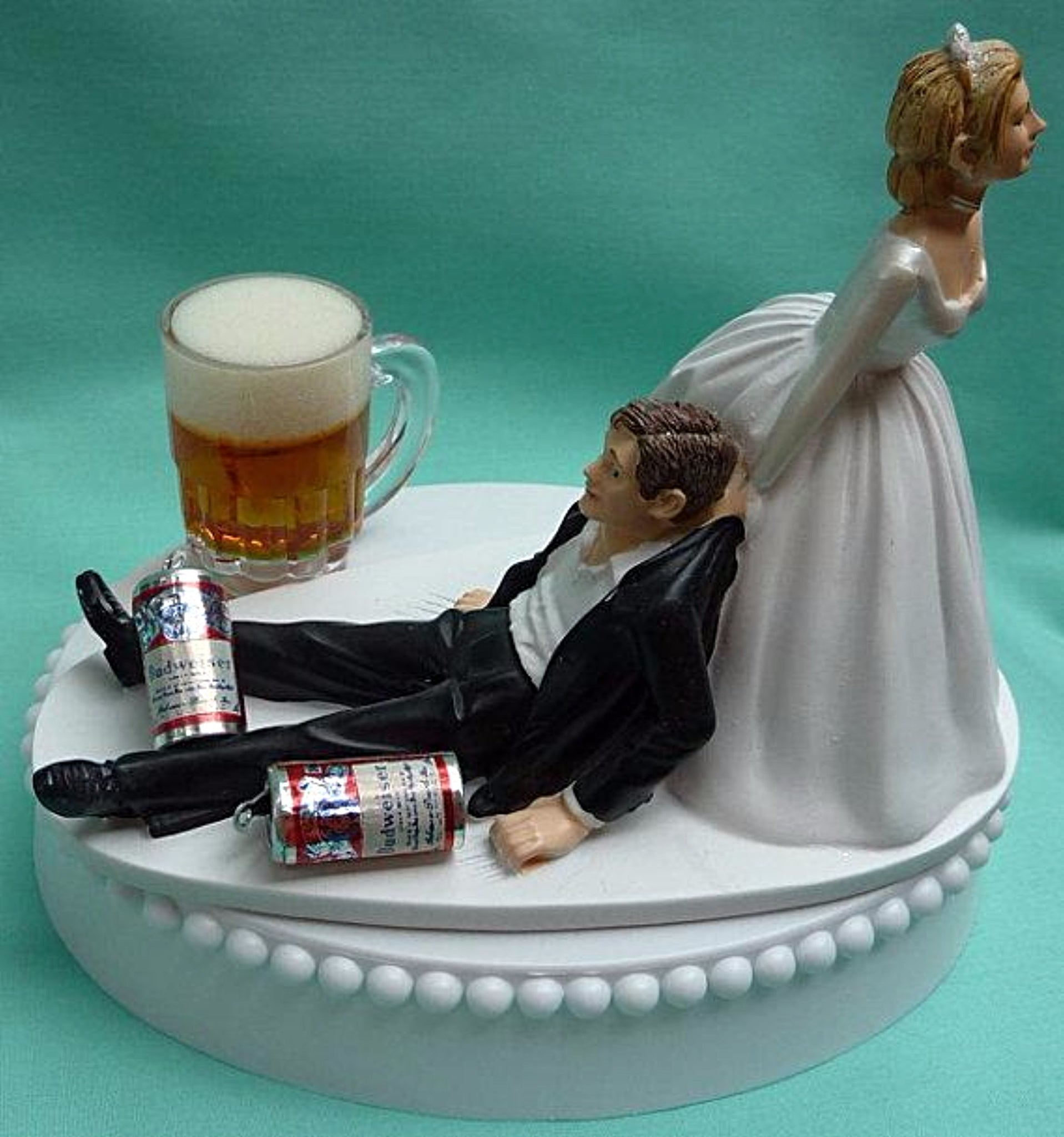 Budweiser beer wedding cake topper Bud Fun Wedding Things bride dragging groom funny drinking humorous cans