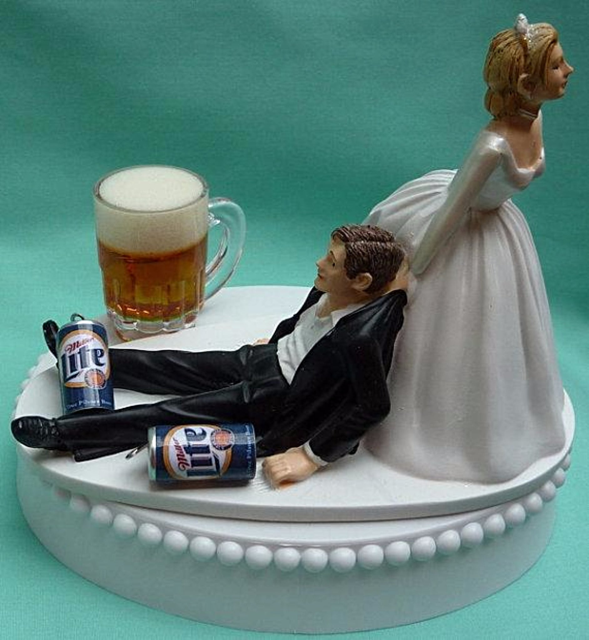 Miller Lite beer wedding cake topper groom's cake top Fun Wedding Things drinking cans mug humorous reception bride groom