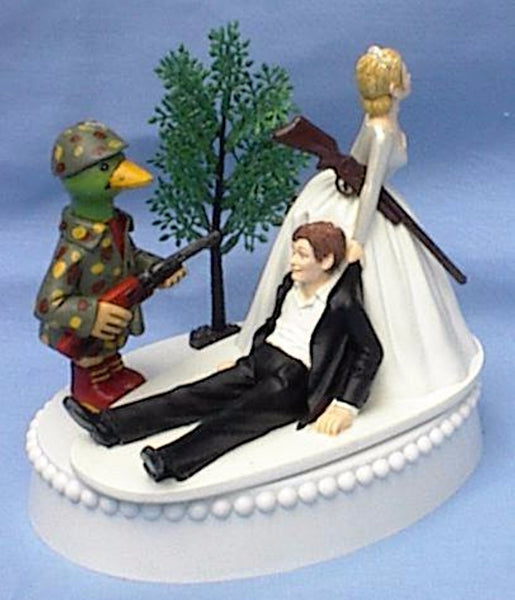 Duck hunting cake topper wedding ducks hunter bride groom's cake top funny Fun Wedding Things tree green camo rifle