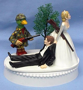Duck hunter wedding cake topper groom's cake top hunting ducks FunWeddingThings.com humorous funny