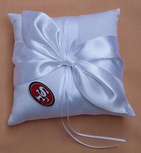 FunWeddingThings.com wedding ring bearer pillow ring pillows fun team school sports ceremony marriage Fun Wedding Things white ivory satin