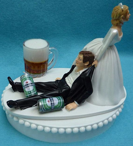 Beer groom's cake top wedding cake topper Heineken Fun Wedding Things cans mug bride groom drinking humorous fun beer