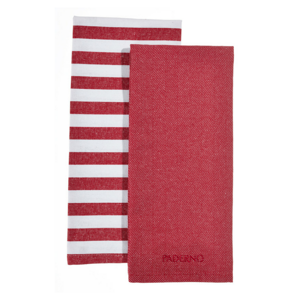 Yarn-Dyed Kitchen Towel 2-Pack, Red   Paderno