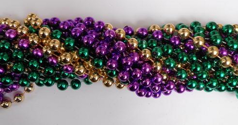 "48"" 14mm Round Metallic Purple, Green and Gold Mardi Gras Beads - Case (10 Dozen)"