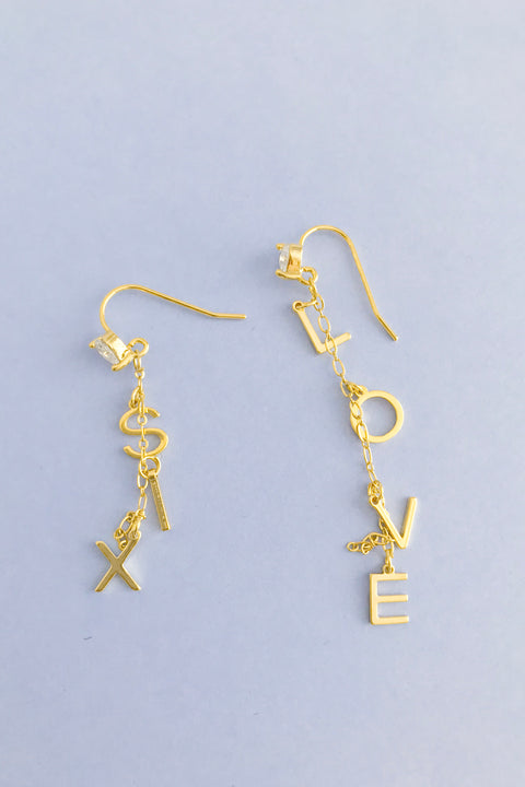 SIX LOVE CHANDELIER EARRINGS