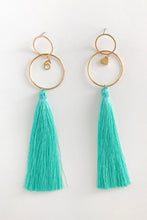 SIX LOVE GREEN TASSEL EARRINGS