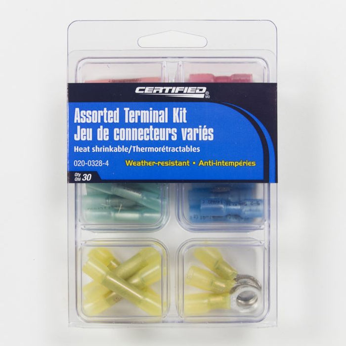 0200328 Certified Assorted Heat Shrink Terminal Kit, 30-pc