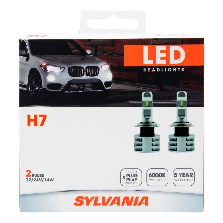 H7LED.BX2 H7 Sylvania LED Headlight Bulbs, 2-pk