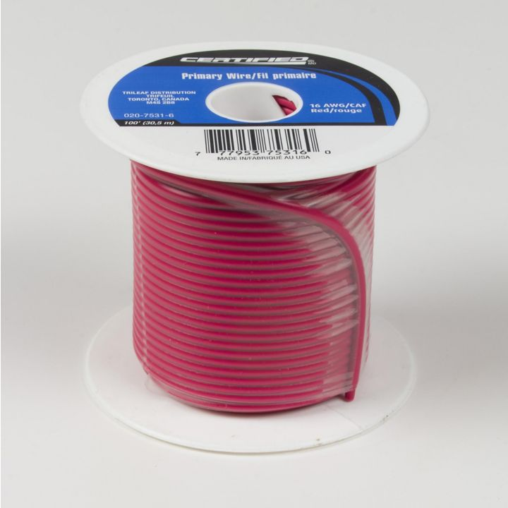 GPT-16-R Certified 16 AWG Wire, Red, 100-ft