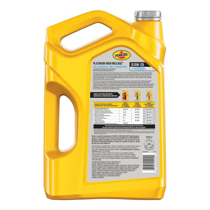 550049506 Pennzoil 0W20 Platinum Synthetic High Mileage Motor Oil, 5-L