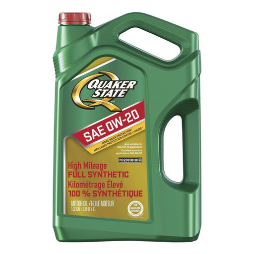 Quaker State High Mileage Full Synthetic Engine Oil, 0W20, 5-L