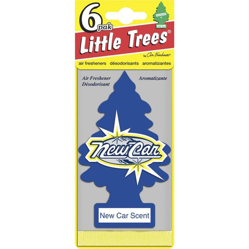 U6P-60189 Little Trees Hanging Air Freshener, New Car, 6-pk