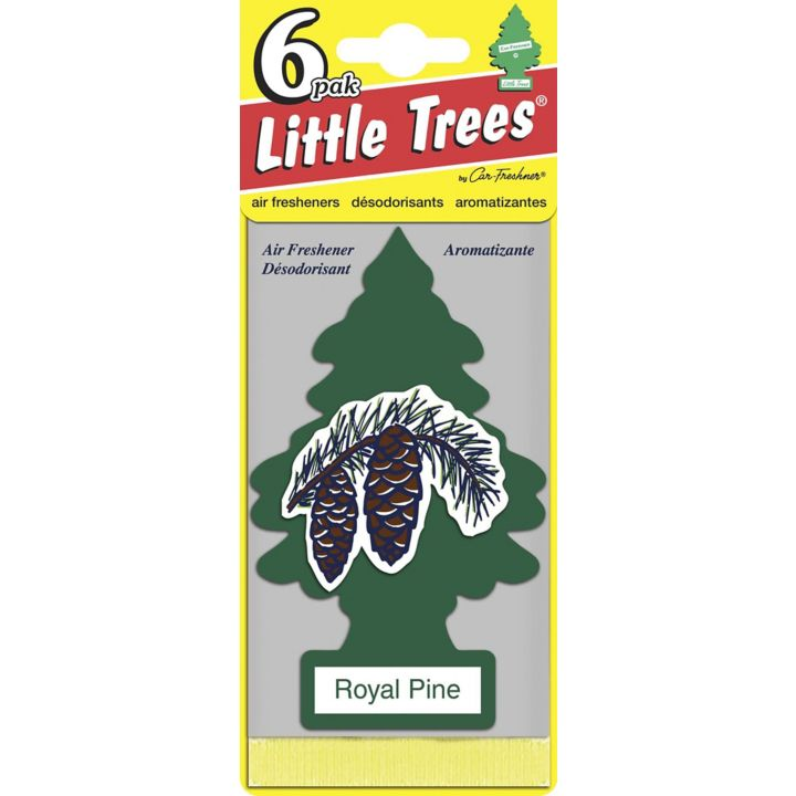 U6P-60101 Little Trees Hanging Air Freshener, Royal Pine, 6-pk