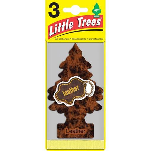 U3S-32290 Little Trees Hanging Air Freshener, Leather, 3-pk