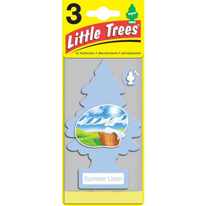 U3S-34325-CN Little Trees Hanging Air Freshener, Summer Linen, 3-pk