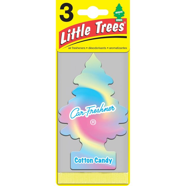 U3S32082 Little Trees Hanging Air Freshener, Cotton Candy, 3-pk