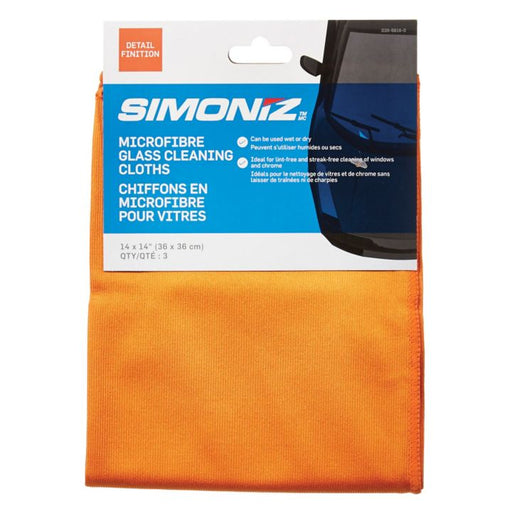 R0M-527039 Simoniz Microfibre Glass Cleaning Clothes, 3-pk