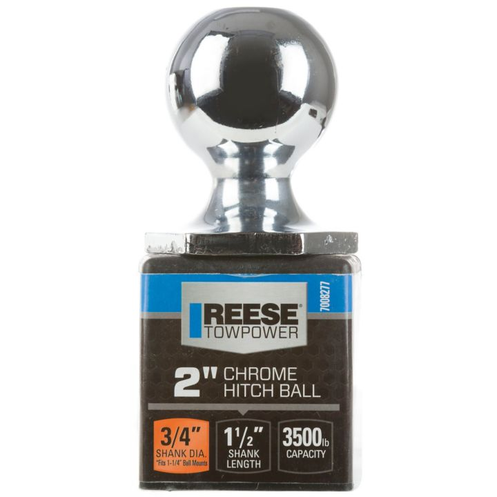 Reese Towpower InterLock Towing Hitch Ball, 2-in Chrome