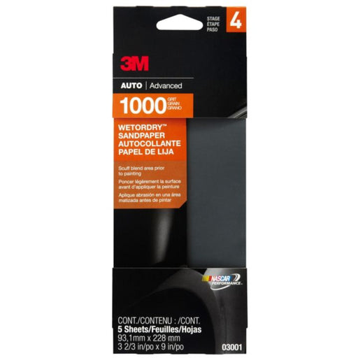 3M Wet or Dry Sandpaper, 4-in x 9-in, 5-pk