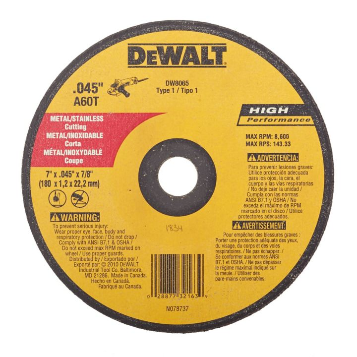 DW8065CT DEWALT Thin Metal Cut-Off Wheel, 7 x 055 x 7/8-in