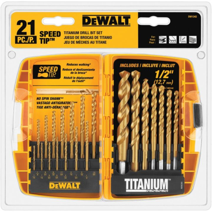 DW1342 DEWALT 21-pc Titanium Speed Tip Drill Bit Set
