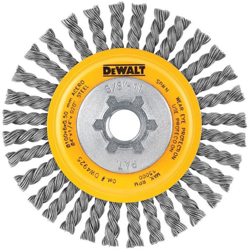 "DeWALT 4"" Stringer Bead Wire Wheel / Carbon Steel  5/8""-11 Arbor .020"