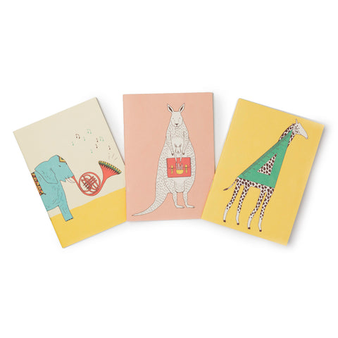 Pocket Notebook Set of Three: Elephant, Kangaroo & Giraffe