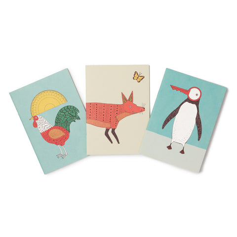 Pocket A6 Notebook - Set of Three: Cockerel, Fox & Penguin