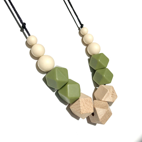 Amelie Teething Necklace - Olive