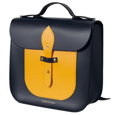 Large Rocket Satchel - Navy Blue & Sun Yellow