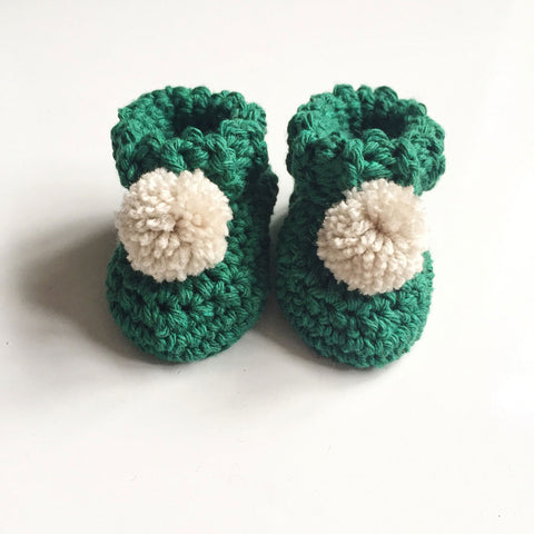 Handmade Pom Pom High Top Booties - Forest Green