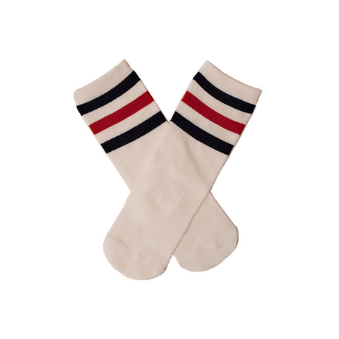 White Knee Socks Navy/Red Stripe