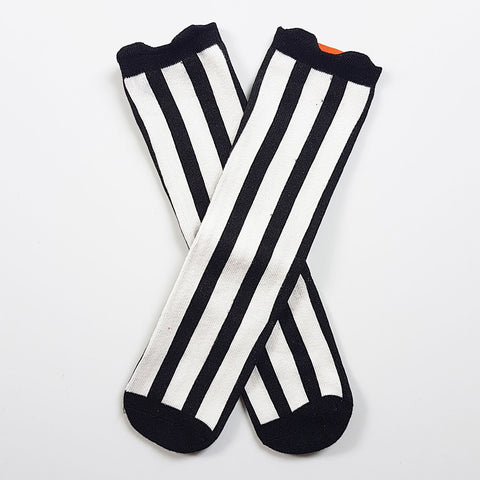 High Black & White Soccer Socks