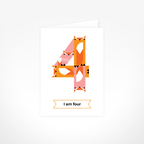 Greeting Card - I Am Four, Foxes