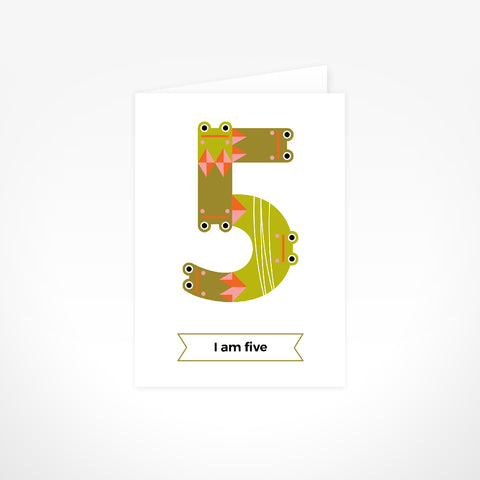 Greeting Card - I Am Five, Frogs