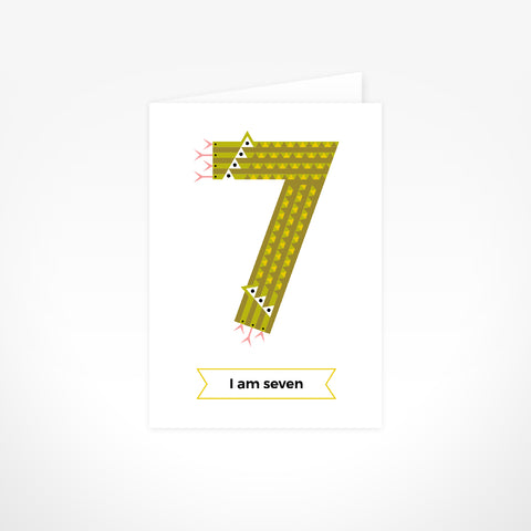 Greeting Card - I Am Seven,  Snakes